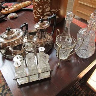 Collection of silver plate & cut glass