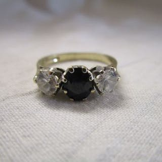 Gold CZ and sapphire 3 stone ring