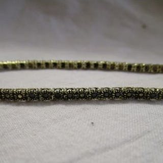 Gold black diamond tennis bracelet