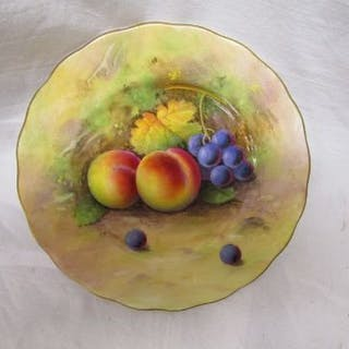 Royal Worcester hand painted plate - Fruit theme signed A Shuck