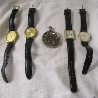 4 watches and fob watch
