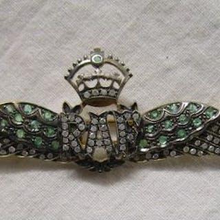 Emerald and diamond RAF brooch