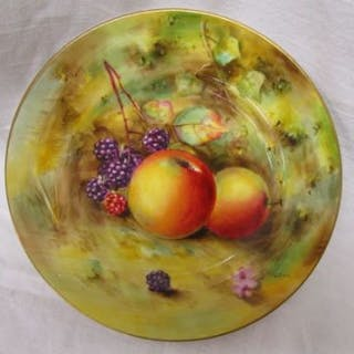 Royal Worcester hand painted small plate - Fruit theme signed W Bee
