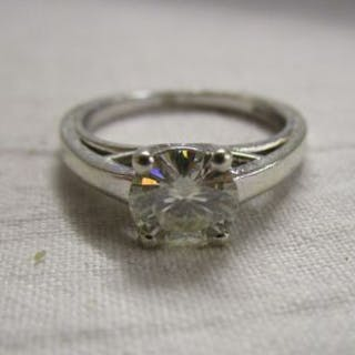 White gold moissanite solitaire ring
