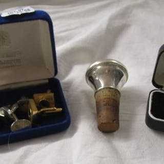 Box of cufflinks etc to include silver bottle stopper