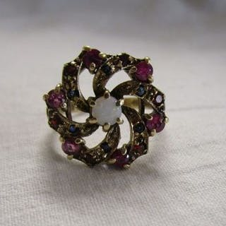 Gold opal, sapphire and ruby cluster ring