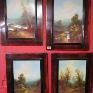 Set of 4 oil paintings under glass - Rural scenes