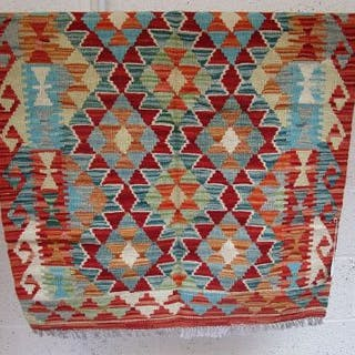 Vegetable dye wool Choli Kelim rug - 113cm x 80cm - Estmate £40