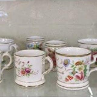 Collection of Staffordshire mugs with 1 jug