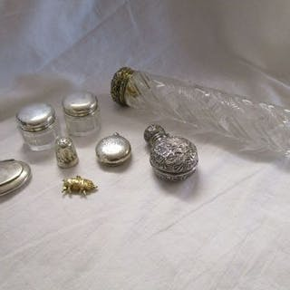 Collection of silver and silver mounted bottles etc
