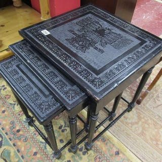 Nest of 3 ebonised tables