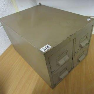 Small vintage metal 4 drawer filing cabinet