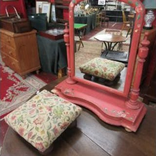 Painted toilet mirror and footstool