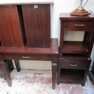 Hall table, 2 bedside cabinets and 2 lidded boxes