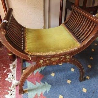 Inlaid mahogany X stool