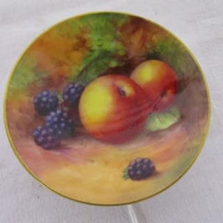 Royal Worcester hand painted pin dish - Fruit theme & signed