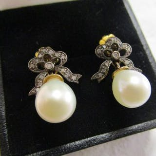 Pair of diamond and pearl drop earrings