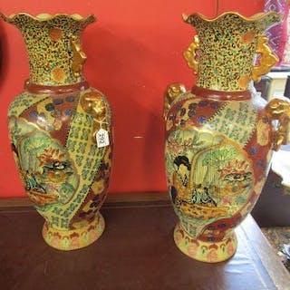 Pair of large Satsuma vases (H: 71cm)
