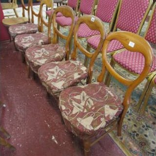 Set of six balloon back chairs with William Morris style fabric