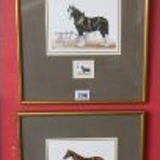 4 framed horse themed PDQ with accompanying stamps
