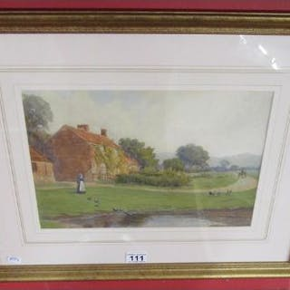 Watercolour - Rural scene by C W Richardson