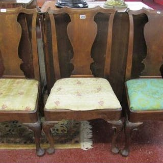 Set of 3 18thC scroll back chairs