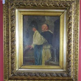 Small oil on board - Monk in cellar, indistinct signatures & dated 1783