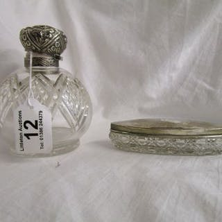 Silver topped bottle & pot