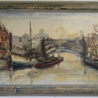 Oil on board - River scene by Jorge Aguilar-Agon (b1936)