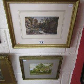 2 Watercolours - River scene & rural scene