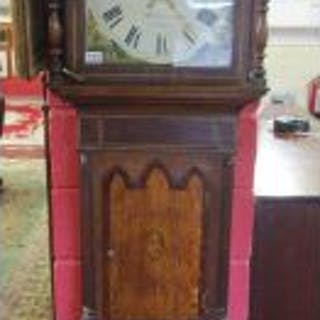 Working early long case 8 day clock by W Dawson of Tunstall (H:218cm)