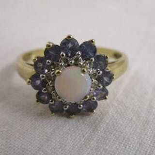 Gold opal, tanzanite & diamond cluster ring