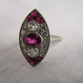 Art Deco style platinum ruby & diamond set ring
