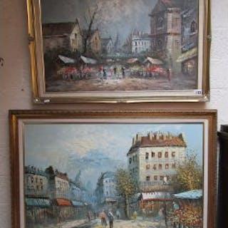 2 oil paintings - Street scenes signed Burnett