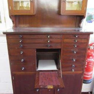 Quality vintage mahogany Dentist's cabinet (H: 158cm W:92cm D:35cm)