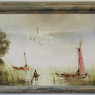 Oil on board - Lake scene by Jorge Aguilar-Agon (b1936)