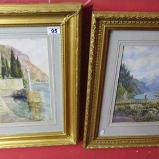 Pair of watercolours - Mountain themes by F L Pelly