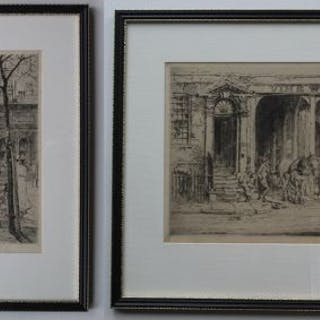 2 etchings by William Monk - Swiss Cottage & Vine Wharf