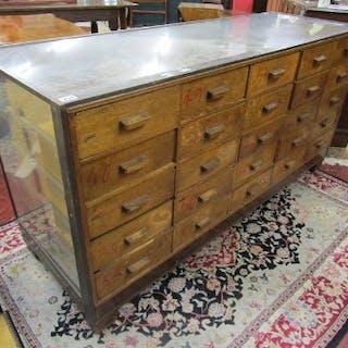 Quality 1930's Art Deco 25-Drawer Haberdashery Cabinet (H: 92cm W:183cm D:62cm)