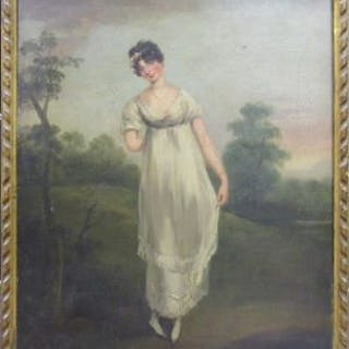 Oil painting of lady entitled 'The Cutty Sark' attributed to Arthur