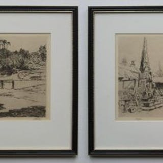 2 etchings by William Monk - Selby Abbey & Riding in London Park