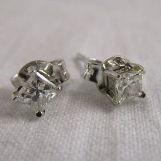 Pair of 18ct princess cut diamond stud earrings