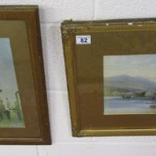 Watercolour - Grasmere by J Hordocks together with a Venetian print
