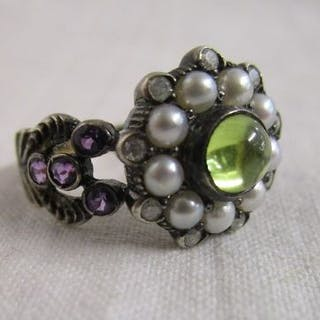 Gold peridot, amethyst, pearl & diamond cluster ring