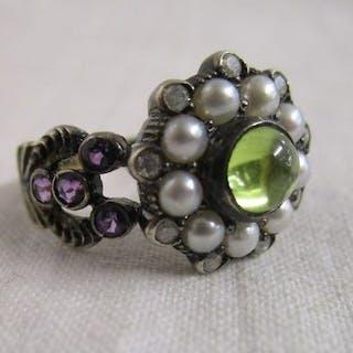 Gold peridot, amethyst, pearl & diamond cluster ring