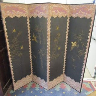 Antique Oriental 4 fold screen (H: 169cm)