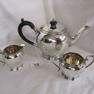 Silver 'Mappin & Webb' George VI three piece bachelor tea service