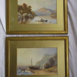 Pair of watercolours - Lake scenes