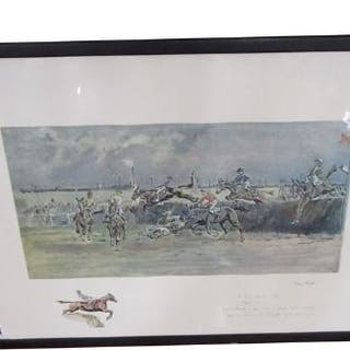 Signed print - The Grand National, Canal Turn 1923 signed Mary Tipton