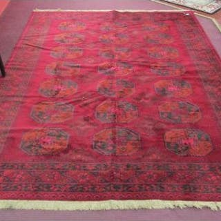 Large patterned red rug - 350cm x 251cm